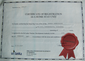 Certified by Sri Lanka Tourism Development Authority